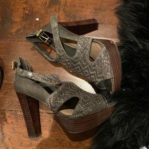 Elliot Lucca Grey taupe block platform heels